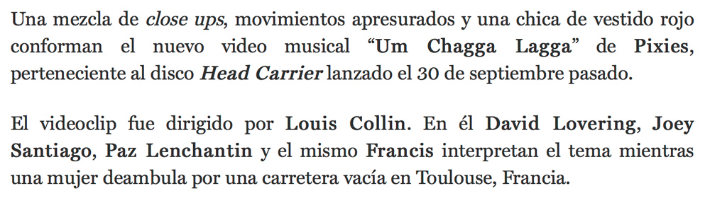 Rolling Stone Mexico Louis Collin Video Pixies